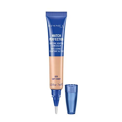 Rimmel London Correttore Liquido Match Perfection - Media Coprenza per Occhiaie e Imperfezioni del Viso - 020 Soft Ivory - 7 ml