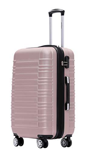 BEIBYE 2088 Zwillingsrollen Reisekoffer Koffer Trolleys Hartschale M-L-XL-Set (Rosa Gold, L)