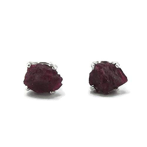Sterling Silver Raw Rough Ruby Stud Earrings