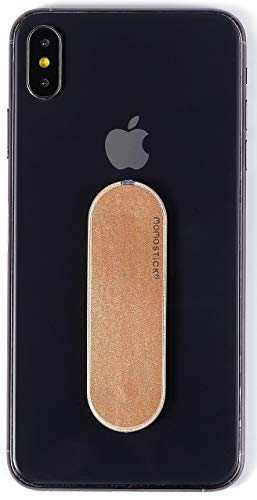 MOMOSTICK - Das Original! Smartphone Fingerhalter - Handy Fingerhalterung Handy Halter Ständer Griff - Handy Halterung Handy Ring für iPhone Samsung Huawei (iSerie - Gold PU)