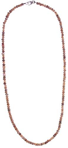 Mystic Mondstein Kette facettiert mit 925er Silberverschluss, Mondsteinkette Länge 45 cm