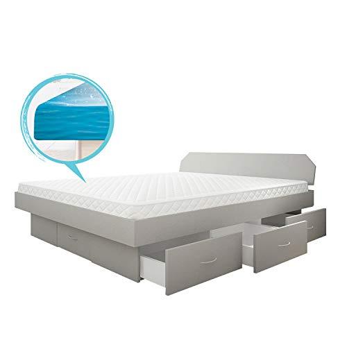 SONDERAKTION bellvita silverline Wasserbett mit Soft-Close Schubladensockel & Bettumrandung inkl. Lieferung & Aufbau durch Fachpersonal, 140cm x 200cm (Silber)