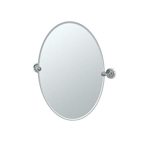 Gatco 5079 Designer II Frameless Oval Pivot Mirror, 26.5 Inch, -