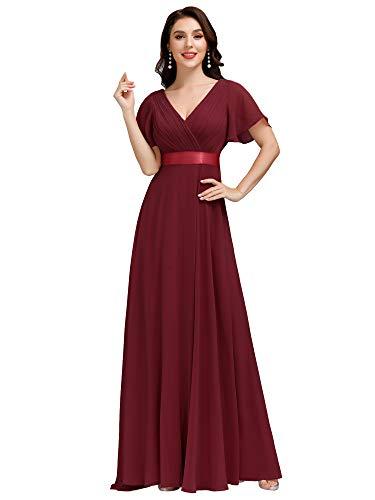 Ever-Pretty Damen Abendkleid Brautjungfer A-Linie V Ausschnitt lang Burgundy 48