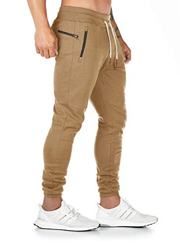Breampot Herren Jogginghose Sporthose Baumwolle Fitness Slim Fit Trainingshose Freizeithose Joggers Sweathose Streetwear (Khaki, Medium)