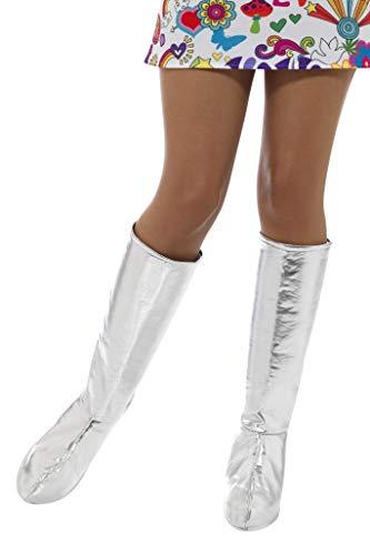 Smiffys Damen GoGo Stiefel Überzieher, One Size, Silber, 43068
