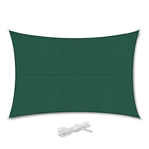 Sekey Sonnensegel Sonnenschutz Polyester Windschutz Wetterschutz Imprägniert 95% UV Schutz für Garten Outdoor Terrasse Camping Party mit Seilen, 3×4m Grün