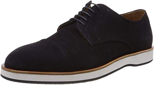 Hugo Boss Oracle Derb dct Men's Casual Shoes Lace up Suede with Monogram Flat Sole (Dark Blue, Numeric_10)