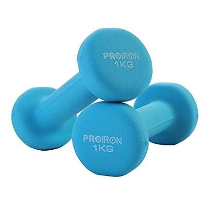 PROIRON Mancuernas de Neopreno -Mancuernas con Revestimiento de Neopreno 2 x 1 kg Azul