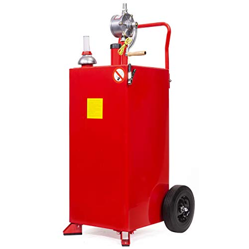 Stark 30 Gallon Gas Caddy Tank Gasoline Fluid Diesel Fuel Transfer Storage with Pump, Red (65113)