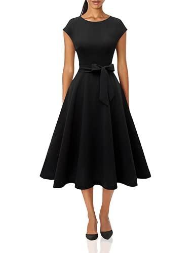 DRESSTELLS Schwarz Damen Kleider Vintage Kleider 50er Jahre Rockabilly Kleid schwarz cocktailkleid festlich Retro Kleider Black M