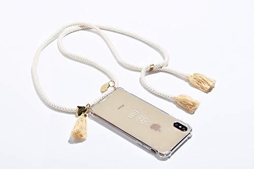 ETUUI Alva White – Cadena para teléfono móvil iPhone 7/8 / SE, funda para teléfono móvil, correa para el cuello, funda para smartphone con banda (beige – blanco)