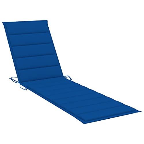 vidaXL Cojín para Tumbona Asiento Silla Sofá Jardín Patio Terraza Balcón Muebles Mobiliario Exterior Acolchado Tela Azul Royal 200x50x4 cm