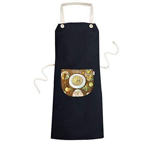 Ik hou van koken Geslagen eieren Honing Koken Keuken Zwarte Bib schorten Met Pocket voor Vrouwen Mannen Chef Geschenken