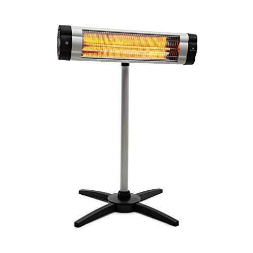 blumfeldt Rising Sun Mono - Infrarot-Heizstrahler, Terrassen-Heizstrahler, Wärmespender, 2500W, IP34 spritzwassergeschützt, höhenverstellbar, Carbon-Heizelement, Stand- oder Wandgerät, Silber