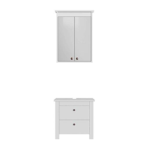 Vicco Badmöbel Set Albatros Weiß Waschtischunterschrank Spiegelschrank