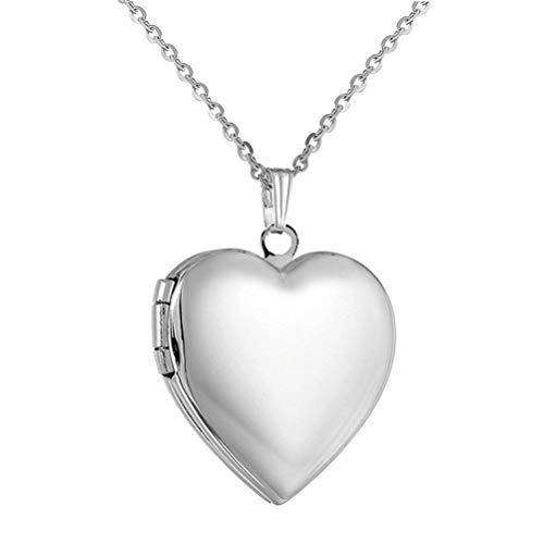 PAURO - Collana da donna in acciaio inox con medaglione a forma di cuore