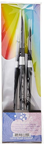 Silver Brush Limited SLM 3099 Susan Louise Moyer Basic Watercolor Brush Set, Set of 3 Black Velvet Round Brushes, Sizes 4, 8, and 12