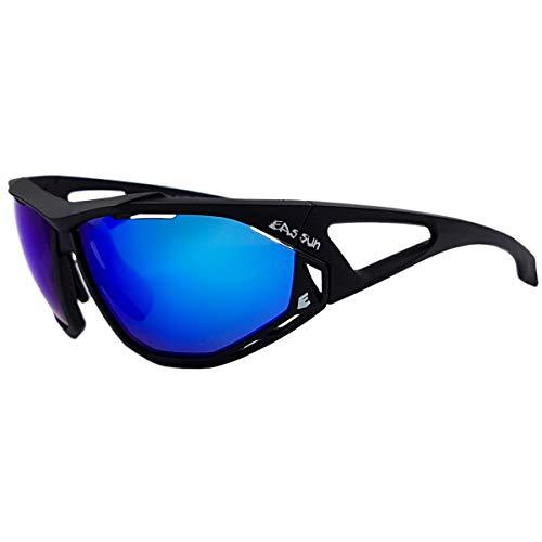 EASSUN Gafas de Mountain Bike Epic, Solares Cat 3 con Sistema de Ventilación Airflow - Negro Mate, Azul Revo