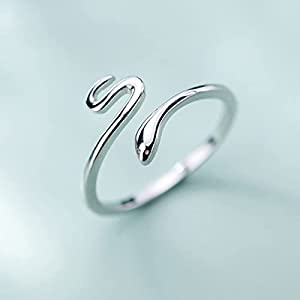 Extraordinary Snake-Shaped Opening Adjustable Ring, Ladies Ring Jewelry Accessories (Main Stone Color : Silver, Ring Size : Resizable)