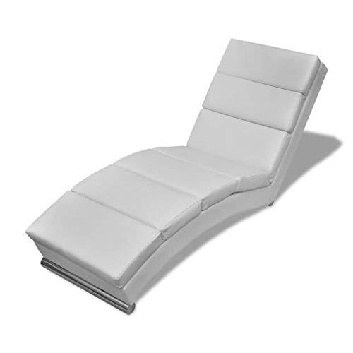 Tidyard Relaxliege Liegesessel Chaiselongue Wohnzimmer Relaxsessel Liege mit Verzinkten Stahlfußleisten Weiß 154 x 52,5 x 72 cm