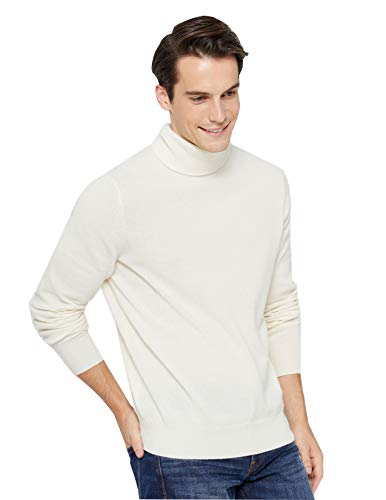 State Cashmere Men's Classic Turtleneck Sweater 100% Pure Cashmere Long Sleeve Pullover (Large, Ivory)