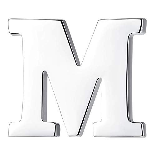 HONEY BEAR 1pc 26 Alphabet Letters A to Z Collar Brooch Label Pins Badge for Mens Suit/Womens Shirt, Stainless Steel for Business Gift (M-0.59in)
