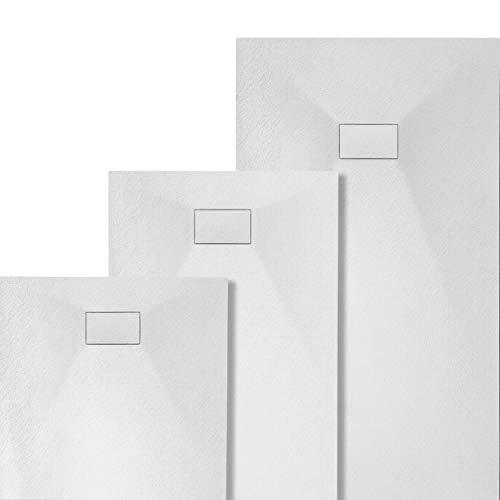 VILSTEIN Design Duschwanne   Antirutsch Duschtasse   flach   Steinoptik   inkl. SMC Abdeckung   90x90 cm   Weiß