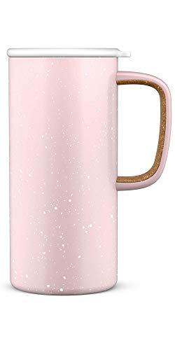 Caneca de viagem de aço inoxidável isolada a vácuo Ello Campy com tampa deslizante de vedação à prova de vazamento, 473 ml, cetim rosa