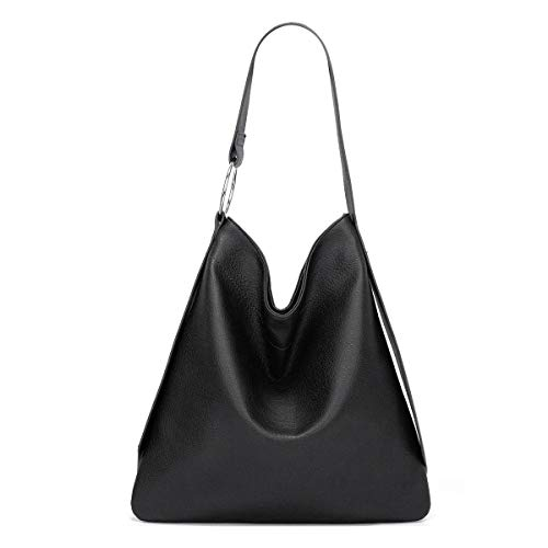 BUKESIYI Women's Totes Shoulder Bags Hobos Satchels Top-Handle Handbags PU Leather Convertible CCUK77121 Black