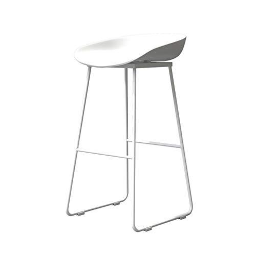 KONGY Barstolar, robust metallstöd höga barstolar bekväma stolar nordisk stil frukostpallar för köksö bardisk (färg: Vit + vit, storlek: B)