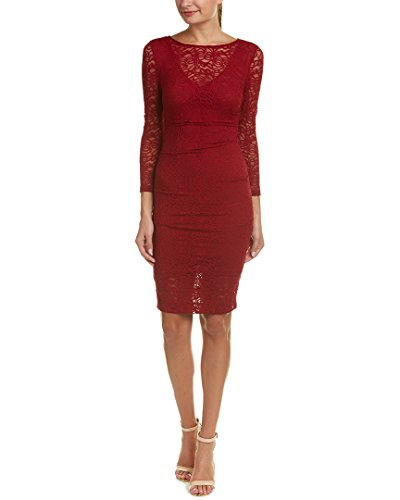 Nicole Miller Women's Swirly Roses Lace Illusion 3/4 SLV Dress, Crimosn Red/CRM, 12