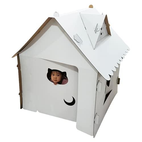 【LR.store】ダンボールハウス 子供 大きい 秘密基地 子供段ボールプレイハウス おままごと ごっこ遊び (ハウス白)