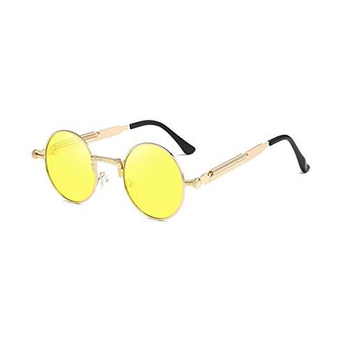 Yuandongxing Round Retro Steampunk Uomo Donna Occhiali da Sole Metal Vintage Sunglasses Uomo Lentes UV400