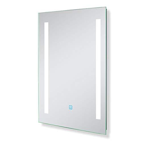 AicaSanitär Led Spiegel Bad 50×70 cm Badspiegel Touch BESCHLAGFREI Wind Serie Kaltweiß Badezimmerspiegel Aluminium-Rahmen