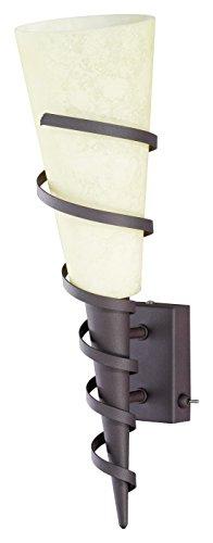 Applique 1 ampoule en métal couleur rouille et verre Scavo