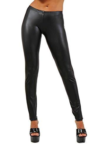 Miss Noir Damen Wetlook Leggings mit Niedrige Taille Lederlook Sexy Clubwear (S/M)