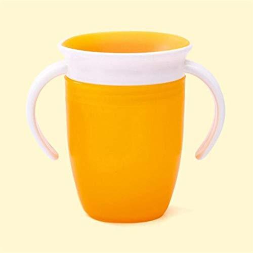 360 grados a prueba de fugas a prueba de fugas Niños de alimentación de agua Botella de alimentación Bebé rotado Aprendiendo Taza de plástico para beber con mango doble (Color : Yellow)
