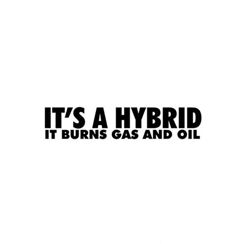 Autoaufkleber YJZT 15 cm * 3,1 cm ES IST EIN HYBRID ES BRENNT Gas UND ÖL Vinyl Aufkleber Persönlichkeit Auto Aufkleber Schwarz/Silber