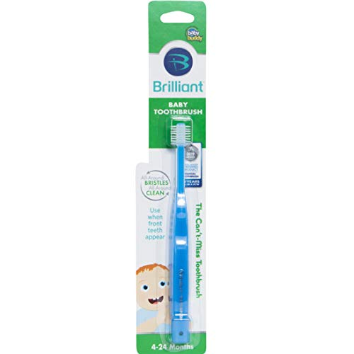 Brilliant Baby Toothbrush by Baby Buddy  for Ages 424 Months BPA Free SuperFine Micro Bristles Clean AllAround Mouth Kids Love Them Blue 1 Count
