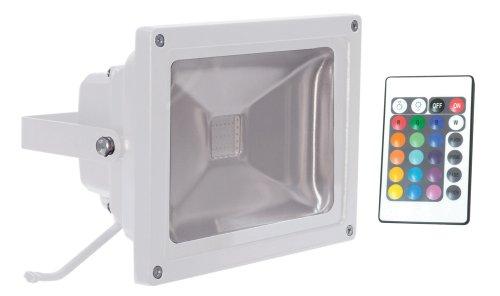 Electrovision - Projecteur RGB à LED Changeur de Couleur avec Télécommande Sans Fil - Couleur: Blanc - Dimensions: 30W