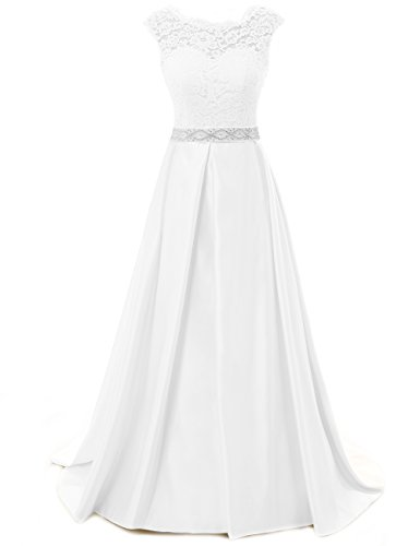Wedding Dress for Bride Lace Bride Dresses Backless Wedding Gown with Crystal Sash A line White