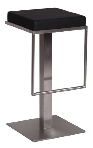 Wohnling Edelstahl Barhocker Durable M2, Edler Gastro Barstuhl Sitzfläche gepolstert, Exklusiver Design Tresenstuhl mit Fußstütze Standfest, Sitzhöhe 76 cm, schwarz