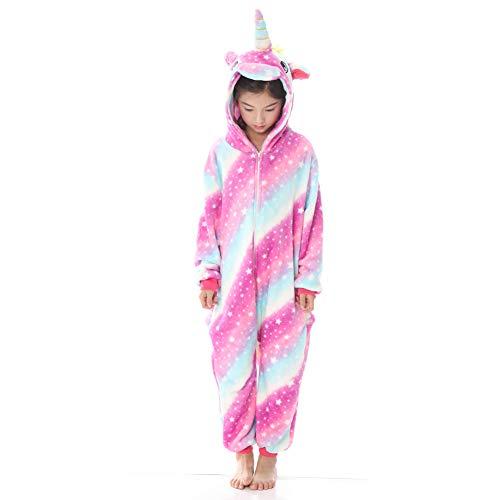 Kinder Einhorn Schlafanzüge Flanell Mit Kapuze Süss Schlafanzug Cosplay Tiere Ankleiden Unisex Onesie (Star, Large)
