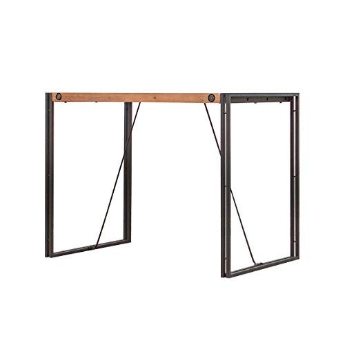 Meubletmoi Table Haute de Bar H 93cm Style Industriel en Bois d'acacia Massif et métal – Collection Workshop