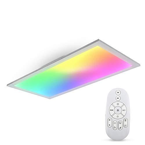 B.K.Licht LED Panel I Farbtemperatur stufenlos einstellbar I 595x295x42mm I 7 Farben RGB I Dimmbar I Ultra Flache Deckenleuchte I Fernbedienung