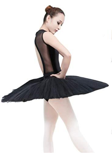 WENDYWU Women Professional Swan Ballet Tutu Dress Hard Organdy Platter Performance Leotard Skirt (M, Black)