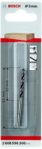 Mèche à bois hélicoïdale avec pointe de centrage, longueur (utile) 30 x (totale) 60 mm - Diamètre 3 mm