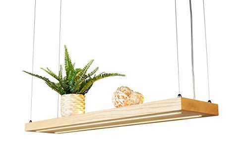 LED Hängelampe | Perfekt über dem Esstisch | Pendelleuchte holz | Edles Design | aus massiver Esche | als Regal verwendbar | Dimmbar | (Esche 80 cm)