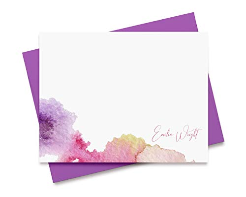 Personalized Watercolor Stationary for Women Note Cards with Envelopes Stationery Gift Set